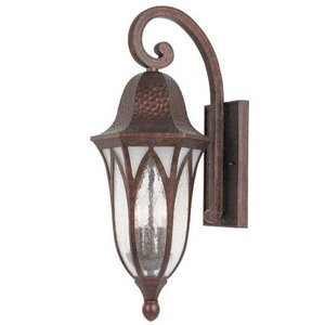 Designers Fountain Exterior Wall Lantern in Burnished Antique Copper with Clear & Frosted Seedy
