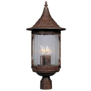 Designers Fountain Exterior Post Lantern in Chestnut with Aged Crackle Optic