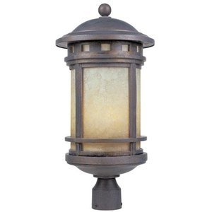 Designers Fountain Exterior Post Lantern in Mediterranean Patina with Amber