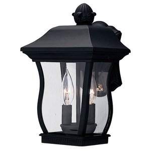 """Designers Fountain 8"""" Wall Lantern in Black with Clear"""
