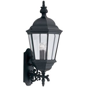 "Designers Fountain 13"" Wall Lantern in Black with Clear"