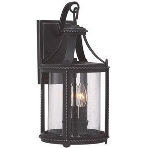 "Designers Fountain 9"" Wall Lantern in Artisan Pardo Wash with Clear Seedy"