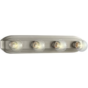 Designers Fountain 4 Light Bath Bar in Brushed Nickel with Clear