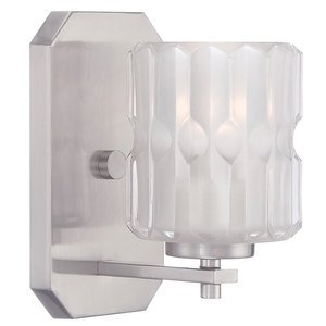 Designers Fountain Wall Sconce in Satin Platinum with Clear Etched