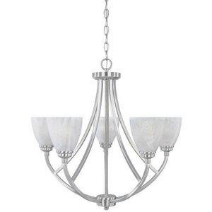 Designers Fountain Chandelier in Satin Platinum with Alabaster
