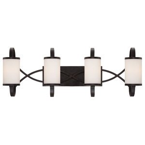 Designers Fountain 4 Light Bath Bar in Artisan with White Opal