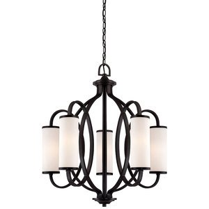 Designers Fountain 5 Light Chandelier in Artisan with White Opal