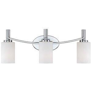 Designers Fountain 3 Light Bath Bar in Chrome with White Opal