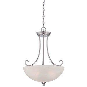Designers Fountain Inverted Pendant in Satin Platinum with Alabaster