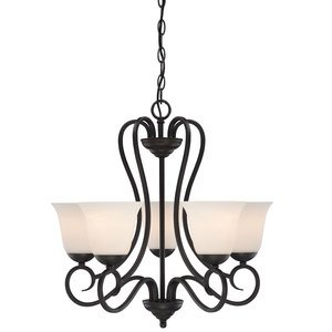 Designers Fountain 5 Light Chandelier in Oil Rubbed Bronze with Frosted