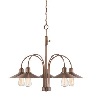 Designers Fountain 5 Light Chandelier in Old Satin Brass with Metal Shade