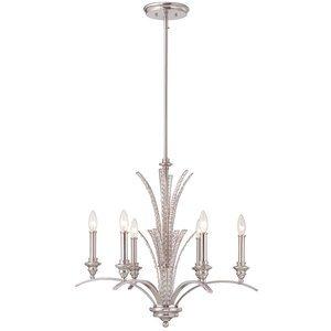 Designers Fountain 6 Light Chandelier in Satin Platinum with Satin White
