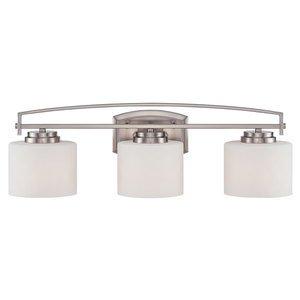 Designers Fountain 3 Light Bath Bar in Satin Platinum with White Opal