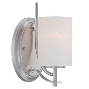 Designers Fountain Wall Sconce in Satin Platinum with Frosted