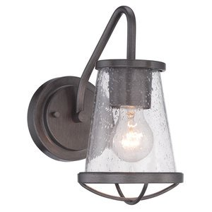 Designers Fountain Wall Sconce in Weathered Iron with Clear Seedy