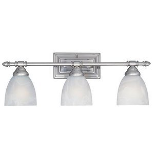 Designers Fountain Interior Bath / Vanity / Wall Sconce in Satin Platinum with Faux Alabaster