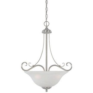 Designers Fountain Interior Pendant in Satin Platinum with Faux Alabaster