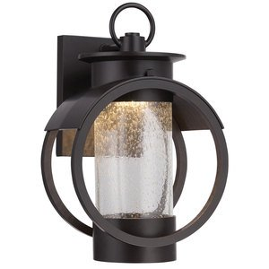 """Designers Fountain 9"""" LED Wall Lantern in Burnished Bronze with Clear Seedy"""