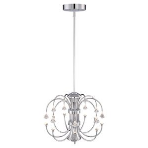Designers Fountain LED 9 Light Chandelier in Chrome with Crystal Accents