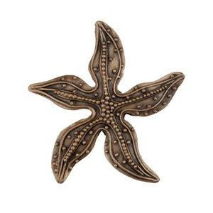 """Acorn MFG 1 7/8"""" Beaded Starfish Knob in Museum Gold"""