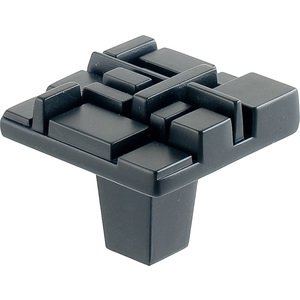 "Du Verre Hardware 1 1/2"" Square Knob in Black Matte"