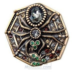 "Edgar Berebi Decorative Hardware 1 5/8"" Knob Spider Jonquil Swarovski Crystal in Museum Gold"