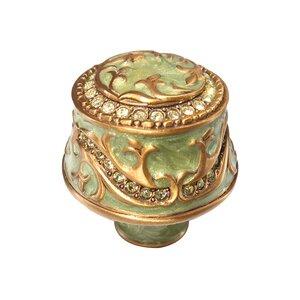 "Edgar Berebi 1 1/4"" Knob Green Pearl with Lt. Colorado Swarovski Crystal in Museum Gold"