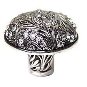 """Edgar Berebi 1 1/2"""" Glendale Knob Swarovski Crystal in Burnish Silver"""
