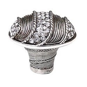 "Edgar Berebi 1 3/8"" Waldorf Knob w/ Swarovski Crystal in Burnish Silver"