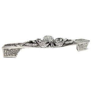 "Edgar Berebi 5"" (128mm) Charlotte Pull Blk Diamond And Clear Cyrstal in Burnish Silver"