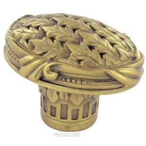 "Edgar Berebi 1 3/8"" Oval Lion in Winter Knob in Florentine Gold"