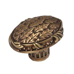"Edgar Berebi 1 7/16"" Oval Lion in Winter Knob in Florentine Gold with with Light Colorado Topaz Swarovski"