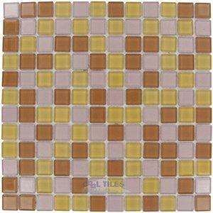 """Elida Ceramica 12""""x12"""" Glass Mosaic in Gold/Bronze"""