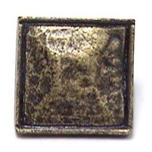 Emenee Small Hammered Square Edge Knob in Antique Matte Silver