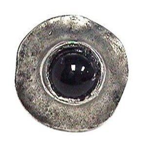 Emenee Center Black Stone Circle Knob in Antique Matte Silver