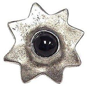 Emenee Center Black Stone Sun-Shaped Knob in Antique Matte Silver
