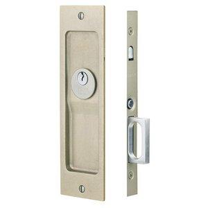 Emtek Hardware Sandcast Bronze Rustic Modern Rectangular Keyed Pocket Door Mortise Lock in Tumbled White Bronze