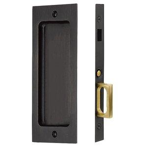 Emtek Hardware Sandcast Bronze Rustic Modern Rectangular Dummy Pocket Door Mortise Lock in Medium Bronze