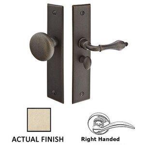 Emtek Hardware Right Hand Rectangular Style Screen Door Lock In Tumbled  White Bronze