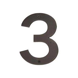 "Emtek Hardware #3 Bronze 6"" House Number in Medium Bronze"