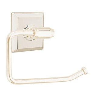 Emtek Hardware Transitional Brass Toilet Paper Holder with Quincy Rosette in Lifetime Polished Nickel