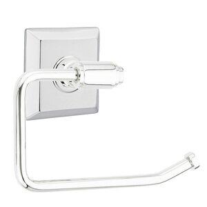 Emtek Hardware Transitional Brass Toilet Paper Holder with Quincy Rosette in Polished Chrome