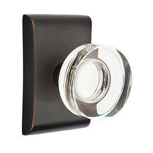Emtek Hardware Modern Disc Crystal Double Dummy Door Knob with Neos Rose in Oil Rubbed Bronze