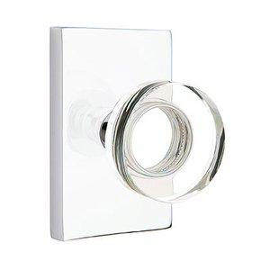 Emtek Hardware Single Dummy Modern Disc Crystal Door Knob with Modern Rectangular Rose in Polished Chrome