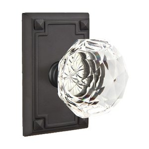 Emtek Hardware Diamond Double Dummy Door Knob with Arts & Crafts Rectangular Rose in Flat Black