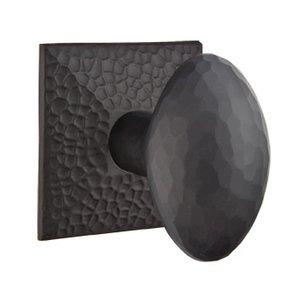 Emtek Hardware Double Dummy Hammered Egg Door Knob with Hammered Rose in Flat Black