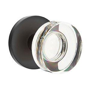Emtek Hardware Modern Disc Crystal Double Dummy Door Knob with Disk Rose in Flat Black
