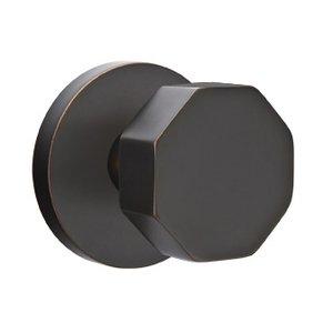 Emtek Hardware Double Dummy Octagon Door Knob And Disk Rose in Oil Rubbed Bronze