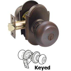 Emtek Hardware Keyed Providence Knob With #8 Rose in Oil Rubbed Bronze