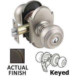Emtek Hardware Keyed Waverly Knob With #8 Rose in Oil Rubbed Bronze